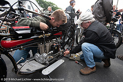 Jeff Tiernan does some last minute wrenching at Big Moose Harley-Davidson for the start of the Motorcycle Cannonball coast to coast vintage run. Stage-1 (145-miles) from Portland, Maine to Keene, NH. Saturday September 8, 2018. Photography ©2018 Michael Lichter.