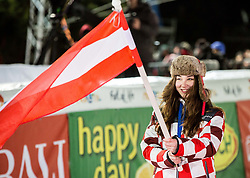 "Hostess with an Austrian flag due to the win of Marcel Hirscher (AUT) at Trophy ceremony after the 2nd Run of FIS Alpine Ski World Cup 2017/18 Men's Slalom race named ""Snow Queen Trophy 2018"", on January 4, 2018 in Course Crveni Spust at Sljeme hill, Zagreb, Croatia. Photo by Vid Ponikvar / Sportida"