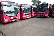 Park and ride buses in depot, Ipswich, England