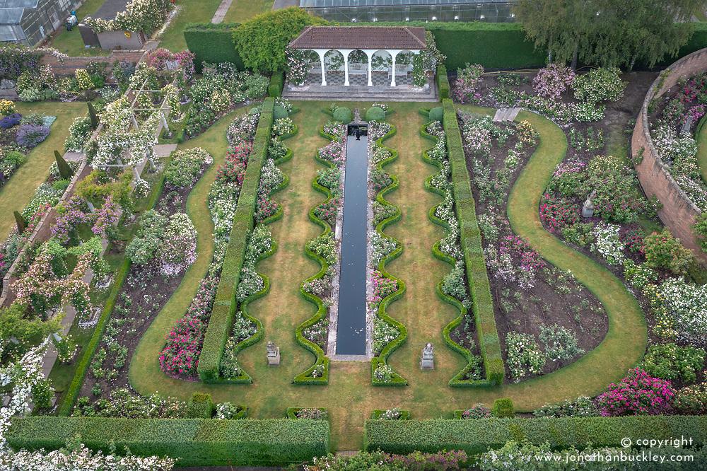 Aerial view of The Renaissance Garden at The David Austin Rose Gardens