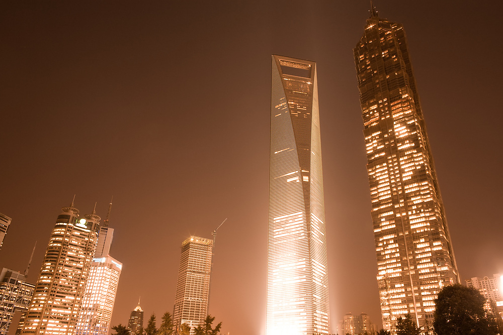 Skyline of office buildings at Lujiazui Financial district at night, Shanghai, China.