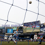 NEW YORK, NEW YORK - March 18: Jack Harrison #11 of New York City FC shoots over the bar from close range as goalkeeper Evan Bush #1 of Montreal Impact watches the ball sail over the bar during the New York City FC Vs Montreal Impact regular season MLS game at Yankee Stadium on March 18, 2017 in New York City. (Photo by Tim Clayton/Corbis via Getty Images)