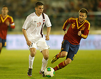 Spain's Ignacio Camacho (r) and Norway's Elabdellaoui during international sub21 match.March 21,2013. (ALTERPHOTOS/Acero)