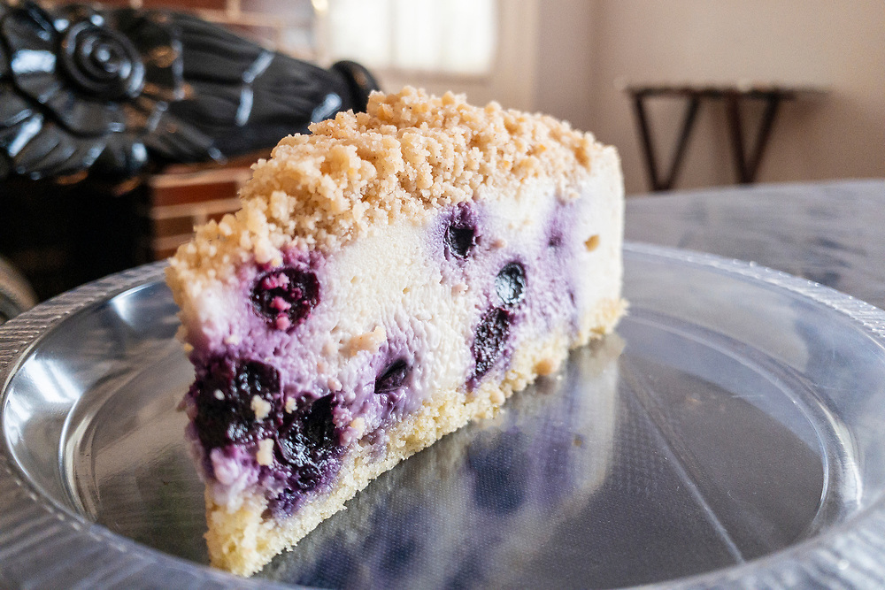 A slice of blueberry cheesecake - the last slice of the day - at Sherry's Signature Cheesecakes in Clayton, North Carolina on Thursday, August 19, 2021. Copyright 2021 Jason Barnette