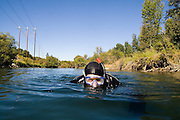 Jeremy Cram, graduate student at the University of Washington, conducts snorkel surveys of fish and habitat distribution on the Yakima River in Eastern Washington.