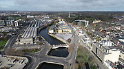 Aerial Photos of Dublin city Centre During Travel Restrictions, 3-4-20, 3rd March 2020, Covid 19, Friday Morning, Rush Hour, showing almost, Empty Streets, as people, curtail all but essential movement, Ireland, and Irish are doing their best to reduce risk to others, Seán Sherwin Bridge, Seán Huston Bridge, Criminal Courts, Phionex Park, Huston Station, Ashling Hotel, liffey Photos, Photo, Snap, Streets, Street,
