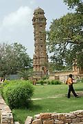 India, Rajasthan, chittorgarh the fort Vijay Stambha (tower of victory)
