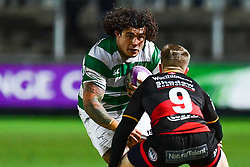Newcastle Falcons' Sam Lockwood in action during todays match<br /> <br /> Photographer Craig Thomas/Replay Images<br /> <br /> EPCR Champions Cup Round 3 - Newport Gwent Dragons v Newcastle Falcons - Saturday 15th December 2017 - Rodney Parade - Newport<br /> <br /> World Copyright © 2017 Replay Images. All rights reserved. info@replayimages.co.uk - www.replayimages.co.uk