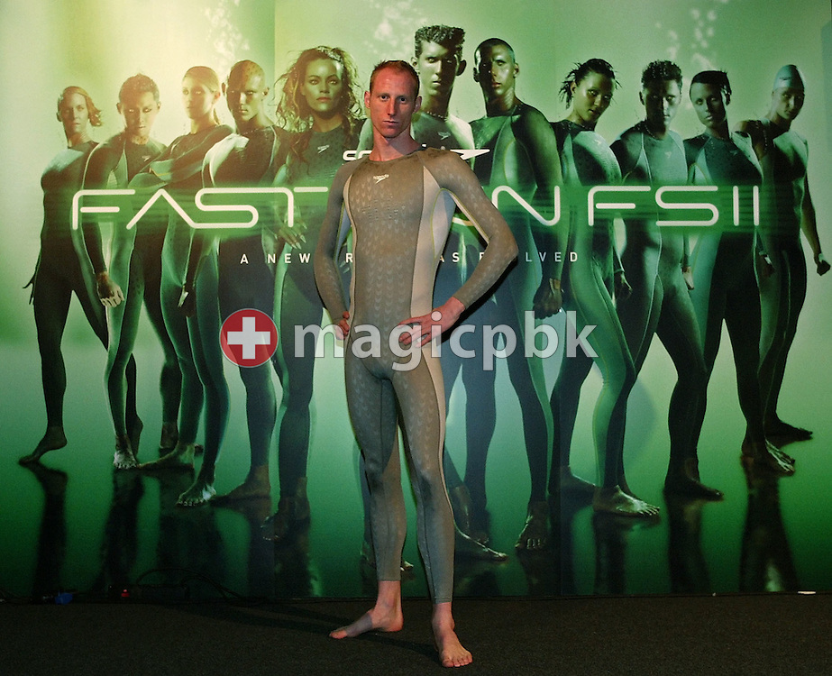 Karel NOVY of Switzerland poses in the new Speedo FASTSKIN FSII (FS2) swim suit on Tuesday, March 9, 2004, at the launch party in London. (Photo by Patrick B. Kraemer/MAGICPBK)