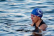 A swimmer at Mighty Mujer Triathlon waits in the water