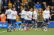 Preston North End striker Paul Gallagher celebrates goal during the Sky Bet Championship match between Wolverhampton Wanderers and Preston North End at Molineux, Wolverhampton, England on 13 February 2016. Photo by Alan Franklin.