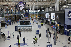 © Licensed to London News Pictures. 07/09/2020. London, UK. Rail passengers arrive at Waterloo Station. Train capacity is supposed to reach 90% today as holidays come to an end and schools return. Photo credit: Peter Macdiarmid/LNP
