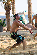 Israel, Eilat, playing volleyball on the beach