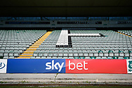 General view inside Home Park Stadium of the Sky Bet advertising boards before the EFL Sky Bet League 1 match between Plymouth Argyle and Burton Albion at Home Park, Plymouth, England on 20 October 2018.
