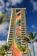 The Rainbow Tower of the Hilton Hawaiian Village in Waikiki, Hawaii.
