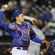 NEW YORK, NEW YORK - APRIL 11: Catcher Travis d'Arnaud, New York Mets, during the Miami Marlins Vs New York Mets MLB regular season ball game at Citi Field on April 11, 2016 in New York City. (Photo by Tim Clayton/Corbis via Getty Images)