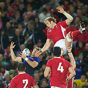 Alun Wyn Jones, Wales, challenges in a line out during the Wales V France Semi Final match at the IRB Rugby World Cup tournament, Eden Park, Auckland, New Zealand, 15th October 2011. Photo Tim Clayton...