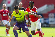 Exeter City's Will Dean (41) tries to hold off the challenge of Bristol City's Famara Diédhiou (9) during the EFL Cup match between Bristol City and Exeter City at Ashton Gate, Bristol, England on 5 September 2020.