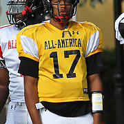 Quarterback Brett Hundley during the practice session at the Walt Disney Wide World of Sports Complex in preparation for the Under Armour All-America high school football game on December 3, 2011 in Lake Buena Vista, Florida. (AP Photo/Alex Menendez)