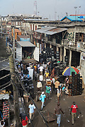 The view of Alaba International Market, one of the largest markets for electronic goods in West Africa.  New and old - and a lot of non-working electronic goods such as TVs and computers come in to the market via Lagos harbour from the US, Western Europe and China. This picture is part of an undercover investigation by Greenpeace and Sky News.  A TV-set originally delivered to a municipality-run collecting point in UK for discarded electronic products was tracked and monitored by Greenpeace using a combination of GPS, GSM, and an onboard radiofrequency transmitter placed inside the TV-set.  The TV arrived in Lagos in container no 4629416 and was found in Alaba International Market and bought back by Greenpeace activist. The TV was subsequently brought back to England and used as proof of illegal export of electronic waste. A number of individual are currently on trial in London in connection with illegal exports(Nov 2011)