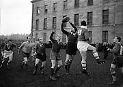 Irish Rugby Football Union, Ireland v England, Five Nations, Irish team practice at College Park, Dublin, Ireland, Thursday 7th February, 1957,.7.2.1957, 2.7.1957,..Irish Team, ..P J Berkery, Wearing number 15 Irish jersey, Full back, Landsdowne Rugby Football Club, Dublin, Ireland,..A J O'Reilly, Wearing number 14 Irish jersey, Right wing, Old Belvedere Rugby Football Club, Dublin, Ireland,  ..N J Henderson, Wearing number 13 Irish jersey, Captain of the Irish team, Right centre, N.I.F.C, Rugby Football Club, Belfast, Northern Ireland, ..A C Pedlow, Wearing number 12 Irish jersey, Left centre, Queens University Rugby Football Club, Belfast, Northern Ireland,..N H Brophy, Wearing number 11 Irish jersey, Left wing, University College Dublin Rugby Football Club, Dublin, Ireland, ..J W Kyle, Wearing number 10 Irish jersey, Ouside Half, N.I.F.C, Rugby Football Club, Belfast, Northern Ireland, ..A A Mulligan, Wearing Number 9 Irish Jersey, Scrum half, London Irish Rugby Football Club, Surrey, England, and, Cambridge University Rugby Football Club, Cambridge, England, ..P J O'Donoghue, Wearing  Number 1 Irish jersey, Forward, Bective Rangers Rugby Football Club, Dublin, Ireland,..R Roe, Wearing number 2 Irish jersey, Forward, London Irish Rugby Football Club, Surrey, England, ..B G Wood, Wearing number 3 Irish jersey, Forward, Garryowen Rugby Football Club, Limerick, Ireland, ..T E Reid, Wearing number 4 Irish jersey, Forward, Garryowen Rugby Football Club, Limerick, Ireland, and, London Irish Rugby Football Club, Surrey, England, ..J R Brady, Wearing number 5 Irish jersey, Forward, C I Y M S Rugby Football Club, Belfast, Northern Ireland, ..H S O'Connor, Wearing number 6 Irish jersey, Forward, Dublin University Rugby Football Club, Dublin, Ireland,..P J A O'Sullivan, Wearing  Number 7 Irish jersey, Forward, Galwegians Rugby Football Club, Galway, Ireland,...J R Kavanagh, Wearing number 8 Irish jersey, Forward, Wanderers Rugby Football Club, Dublin, Ireland, ....
