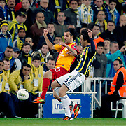 Galatasaray's Engin Baytar (L) during their Turkish superleague soccer derby match Fenerbahce between Galatasaray at Sukru Saracaoglu stadium in Istanbul Turkey on Saturday 17 March 2012. Photo by TURKPIX
