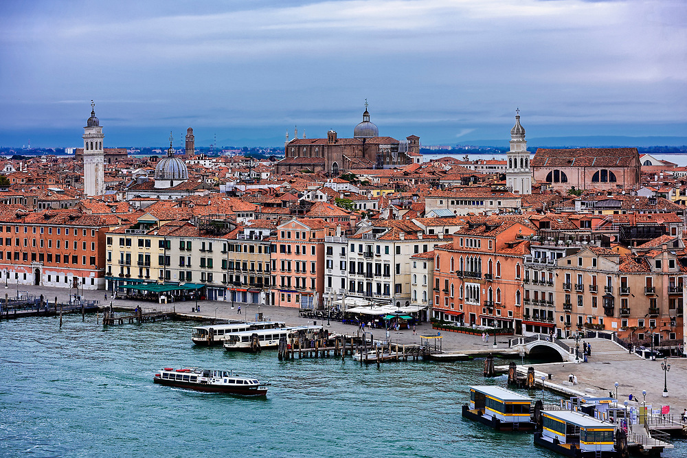 Waterfront architecture and monument to Vittorio Emanuele II, Venice, Italy