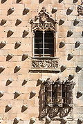 Stone carving of Casa de las Conchas, House of Shells, now public library in Salamanca, Spain