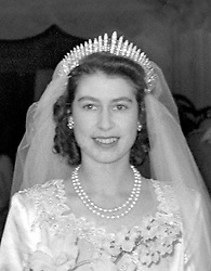 File photo dated 20/11/1947 of Queen Elizabeth II leaving Westminster Abbey after her wedding ceremony wearing the Queen Mary's Fringe Tiara. Princess Eugenie may follow in the footsteps of her mother, Sarah Ferguson, Duchess of York, and wear the York diamond tiara on her wedding day.