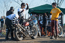 Harley-Davidson Panhead chopper racer in the pits at Brat Style's flat track racing at West Point Offroad Village. Kawagoe, Saitama. Japan. Wednesday December 6, 2017. Photography ©2017 Michael Lichter.