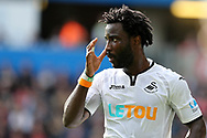 Wilfried Bony of Swansea city looks on. Premier league match, Swansea city v Watford at the Liberty Stadium in Swansea, South Wales on Saturday 23rd September 2017.<br /> pic by  Andrew Orchard, Andrew Orchard sports photography.