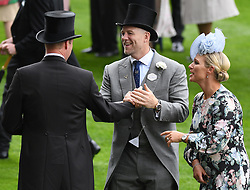 Members of The Royal Family attend the first day of Royal Ascot, Ascot Racecourse, Ascot, Berkshire, UK, on the 18th June 2019. 18 Jun 2019 Pictured: Prince William, Duke of Cambridge, Mike Tindall, Zara Tindall. Photo credit: James Whatling / MEGA TheMegaAgency.com +1 888 505 6342