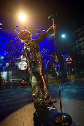 Paloma Faith on stage at the Cambridge Corn Exchange, UK, January 17, 2013.  Photo by Matthew Power / i-Images.