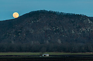 The full moon rises behind Mount Adam in a view from Pine Island, N.Y., on Nov. 29, 2020.