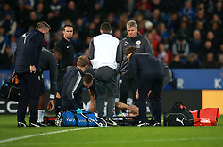 """Burnley's Robbie Brady receives treatment after clashing into Leicester City's Harry Maguire during the Premier League match at the King Power Stadium, Leicester. PRESS ASSOCIATION Photo Picture date: Saturday December 2, 2017. See PA story SOCCER Leicester. Photo credit should read: Mike Egerton/PA Wire. RESTRICTIONS: EDITORIAL USE ONLY No use with unauthorised audio, video, data, fixture lists, club/league logos or """"live"""" services. Online in-match use limited to 75 images, no video emulation. No use in betting, games or single club/league/player publications."""