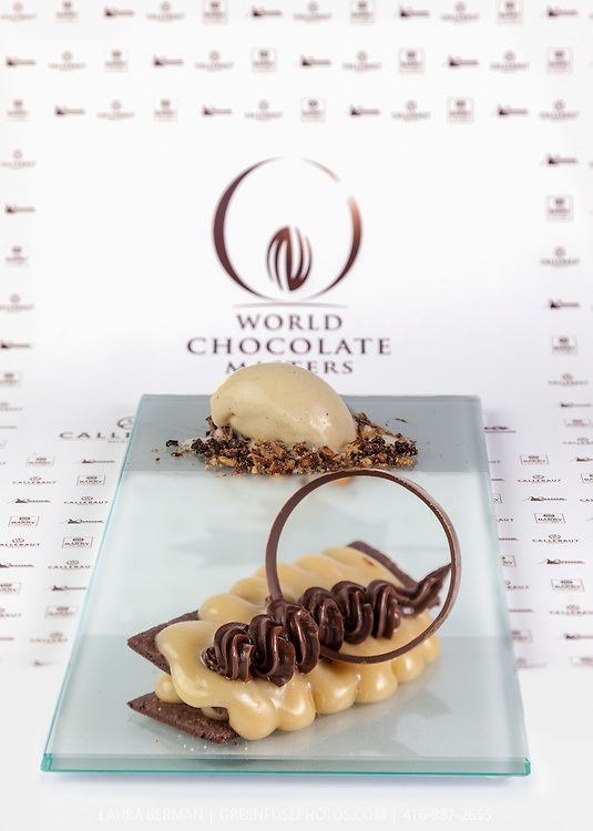 """Sandra Abballe's Classic Dessert Revisited """"Tarte au Sucre"""". World Chocolate Masters Canadian Selection, January 20, 2013."""