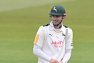 Alex Hales enjoying his first innings of the season during the Specsavers County Champ Div 1 match between Nottinghamshire County Cricket Club and Yorkshire County Cricket Club at Trent Bridge, West Bridgford, United Kingdon on 1 May 2016. Photo by Simon Trafford.