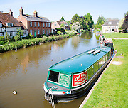 The Rose narrowboat moored on the Kennet and Avon canal, Hungerford. Berkshire, England, UK