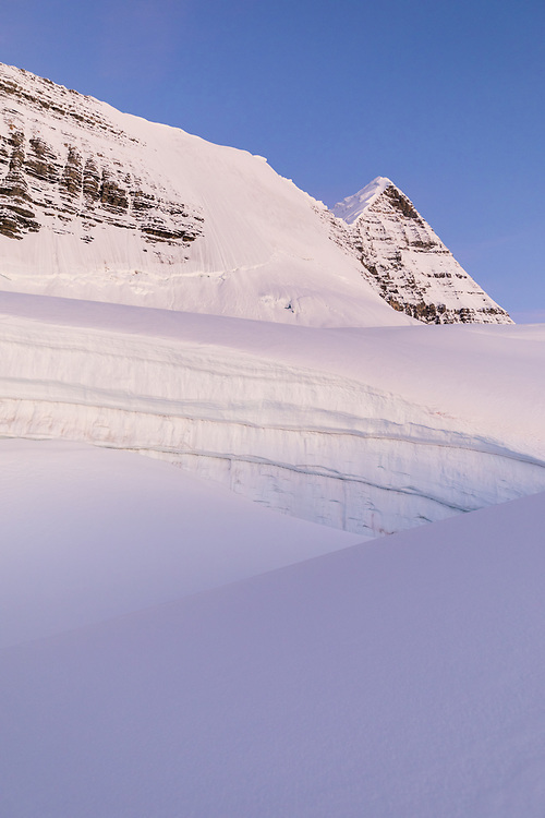 Mt Robson's Kain Face as seen from the approach at sunrise