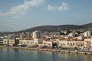 High angle view of coastal town Agios Kirykos, Ikaria, Greece