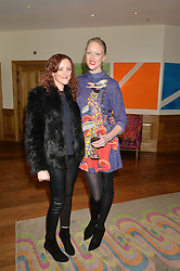 Left to right, sisters AMY PARFITT and JADE PARFITT at a screening of the short film The Chase hosted by Jade Parfitt at The Soho Hotel, 4 Richmond Mews, Soho, London on 22nd February 2015.