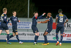 Falkirk's Jordan McGhee celebrates after scoring their first goal. Falkirk 2 v 0 Ayr United, Scottish Championship game played 8/3/2019 at The Falkirk Stadium.