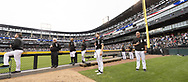 CHICAGO - JUNE 14:  Lucas Giolito #27 of the Chicago White Sox pauses for the National Anthem prior to the game against the New York Yankees on June 14, 2019 at Guaranteed Rate Field in Chicago, Illinois.  (Photo by Ron Vesely)  Subject:  Lucas Giolito