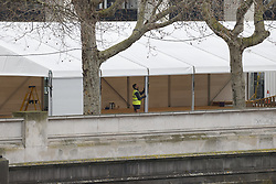 © Licensed to London News Pictures. 19/03/2020. London, UK. A large tent is being erected in the grounds of St Thomas' Hospital in central London. Yesterday a similar tent was erected outside a Westminster mortuary to increase capacity during the coronavirus pandemic. Photo credit: Peter Macdiarmid/LNP