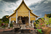 23 JUNE 2011 - CHIANG MAI, THAILAND: Monsoon storm clouds gather over Wat Chedi Luang in Chiang Mai. Wat Chedi Luang is one of the most venerated Buddhist temples in Chiang Mai and is thought to have been originally built in 1441. Photo by Jack Kurtz