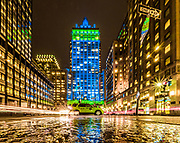 The Helmsley Building lit up in Blue and Green colors in Manhattan, New York City.