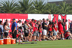 July 28, 2018 - Tampa, FL, U.S. - TAMPA, FL - JULY 28: Fans gather to watch the work out during the Tampa Bay Buccaneers Training Camp on July 28, 2018 at One Buccaneer Place in Tampa, Florida. (Photo by Cliff Welch/Icon Sportswire) (Credit Image: © Cliff Welch/Icon SMI via ZUMA Press)