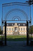 Through the gate. Chateau La Louviere, Pessac Leognan, Graves, Bordeaux, France