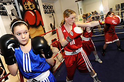 Girls boxing at Conisbrough Amateur Boxing Club, South Yorkshire UK 2009