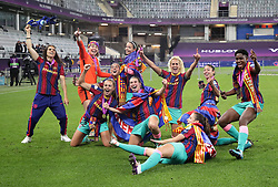 Barcelona players celebrate after victory in the UEFA Women's Champions League final, at Gamla Ullevi, Gothenburg. Picture date: Sunday May 16, 2021.